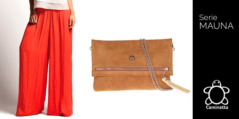 qué bolsos combinar con pantalones palazzo